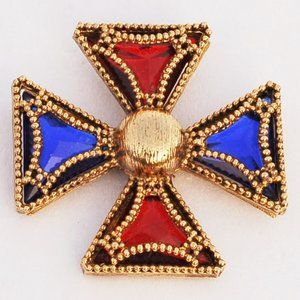 Huge Ornate Red Blue Gold Maltese Cross Brooch Pin